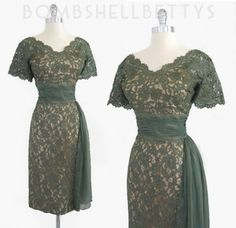 Vintage 50's Green Chantilly Lace Chiffon Bombshell Mad Men Evening Wedding Party Illusion Dress L ♥ SOLD ♥