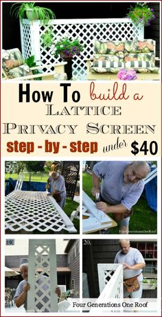 How to build a lattice privacy screen on a budget, Step by step Tutorial for under #40 Dollars ! by @Mandy Bryant Bryant Bryant Bryant Bryant Bryant Bryant Dewey Generations One Roof