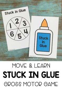 FREE printable silly, fun stuck in glue gross motor move & learn activity for preschool, pre-k, & kinders to help all learning styles and levels succeed! Pre K Activities, Gross Motor Activities, Preschool Learning Activities, Preschool At Home, Free Preschool, Gross Motor Skills, Preschool Kindergarten, Preschool Ideas, School Themes