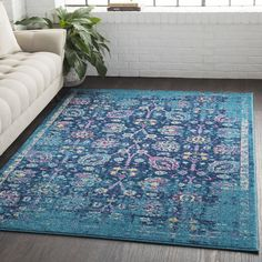 "Surya Overdyed Distressed Traditional Blue Area Rug (7'10"" x 10'3"") (Blue (7'10"" x 10'3"")), Size 8' x 10' (Polypropylene, Oriental)"