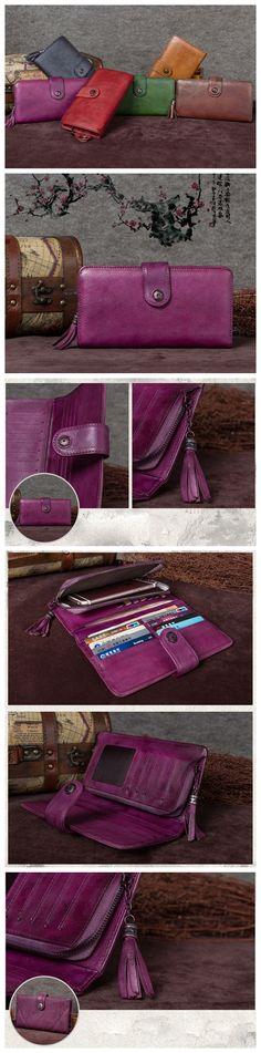 Women's Long Leather Wallet Button Clutch Purse Card Holder Case