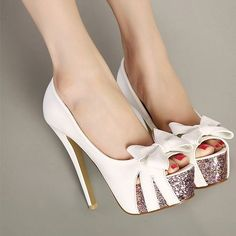 Fashion Round Peep Toe Bow-Tie Designed Platform Stiletto Super High Heels White PU Basic Pumps on Luulla Dream Shoes, Crazy Shoes, Me Too Shoes, Zapatos Peep Toe, Peep Toe Pumps, Nude Pumps, Pretty Shoes, Beautiful Shoes, Awesome Shoes