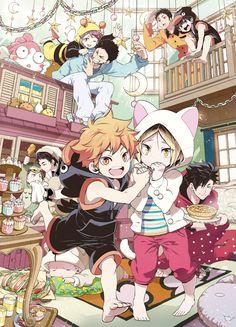 It's to cute! I can't handle it!!! Hinata, Kenma, Bakuto, Oikawa, Kageyama, and Aone Takanobu as kids and Kuroo, Akashi, Iwaizumi and Daichi as themselves from Haikyuu!!
