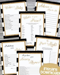 Instant Download- Black & White Stripe Gold Glitter Printable Baby Shower Games - Black and White Baby Shower - Shower Games Pack - 0134 by JanePaperie on Etsy https://www.etsy.com/listing/237167772/instant-download-black-white-stripe-gold