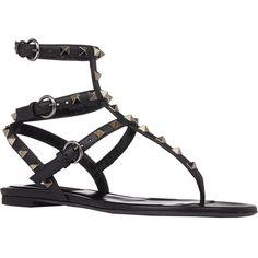 Valentino Rockstud Flat Sandals ($975) ❤ liked on Polyvore