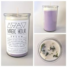 Lavender Soy-Wax Ritual Candle infused with Skullcap Herb, Joshua Tree Flower Essence and Lavender Essential Oil, nestled around a White Howlite Gemstone.  Use this candle to work with your dreams, set intentions for restful sleep, welcome prophetic dreams, or to create a vision of bright future possibilities!  Magic Hour candles are handmade, long-lasting candles infused with herbs, flower essences and essential oils, nestled around lunar charged gemstones. Created magically and with great…
