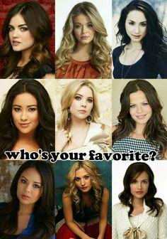 Aria, Alison, Jenna, Melissa, Cece, or Mona