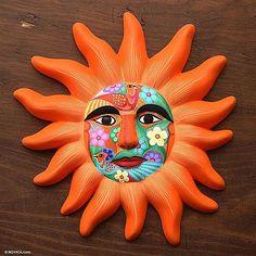 Ceramic 'Orange Sun' Mask (Mexico) Decor for patio Ceramic Mask, Ceramic Wall Art, Mexican Mask, Mexican Ceramics, Outdoor Wall Art, Sun Art, Bohemian Art, Altered Art, Sculpture Art