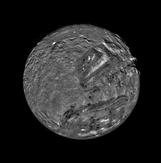 January 1986 - Voyager 2 Flyby of Miranda Uranus' moon Miranda is shown in a computer-assembled mosaic of images obtained Jan. 24 1986 by the Voyager 2 spacecraft. Miranda is the innermost and smallest of the five major Uranian satellites just 480 kilometers (about 300 miles) in diameter. Nine images were combined to obtain this full-disc south-polar view. January 26 2017