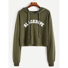 Drop Shoulder Letter Print Raw Hem Crop Hoodie (€5,82) ❤ liked on Polyvore featuring tops, hoodies, shirts, sweaters, crop tops, green, brown long sleeve shirt, green hooded sweatshirt, long sleeve sport shirts and graphic pullover hoodies