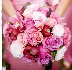 shades of pink, from burgundy cymbidium orchids to mauve lisianthus to...