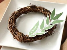 Olive Branch Place Card Template