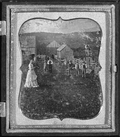 Farming family posed out of doors  Sixth-plate daguerreotype. 1850s.