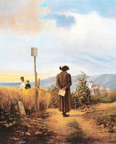 The Forbidden Path 1840 by Carl Spitzweg Painting Print Old Paintings, Paintings I Love, Painting Prints, Hieronymus Bosch, Michelangelo, Carl Spitzweg, Albrecht Dürer, Tom Clark, Figurative Art