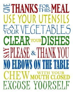 Kitchen Rules - Subway Art