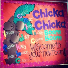 "My first class door at the beginning of the new school year! ""Chicka Chicka Boom Boom, welcome to your new room!"""