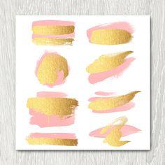 Gold Brush Strokes Clipart  blush & gold metallic glitter
