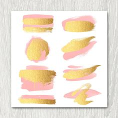 Gold Brush Strokes Clipart  blush & gold metallic glitter