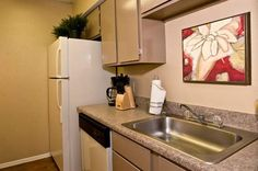 Stylish kitchen in the model apartment at The Copper Hill Apartments in Bedford, TX