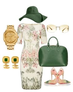 """Brunch"" by thestylesnitch on Polyvore featuring Adrianna Papell, Christian Louboutin, Louis Vuitton, Chanel and Versace"