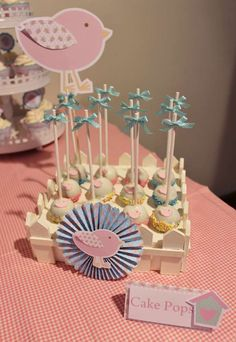 Bird themed first birthday party cake pops! See more party planning ideas at CatchMyParty.com!