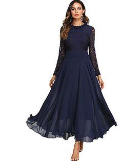 1c2107c22d2 SOLY HUX Femme Robe à Manches Longues Fluide en Dentelle Contrastée Maxi  Robe Long Robe Plissé