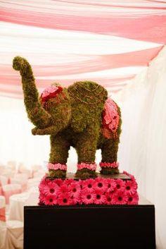 Flower elephant sculpture