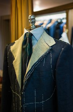 Blue Linen Bespoke Suit for Summer Bespoke Suit, Bespoke Tailoring, Clothing Store Displays, Master Tailor, Tailoring Techniques, Trendy Fashion, Mens Fashion, Tailor Shop, Savile Row