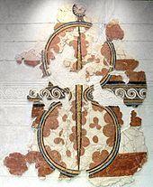 Fresque de Mycènes représentant un bouclier symbole de la déesse de la guerre, Musée national archéologique d'Athènes