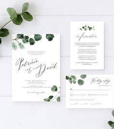 Wedding Invitation Suite with Hand-Painted Watercolor Eucalyptus and Greenery, Details Card, RSVP Card, Envelope Liner, Wedding Menu Cards, Simple Wedding Invitations, Wedding Invitation Templates, Invitation Cards, Formal Invitations, Invitation Ideas, Invites, Save The Date Wedding, Wedding Welcome