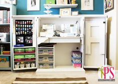 LOVE this sewing center-- keeps all your sewing tools and notions organized but closes to look like a cabinet.