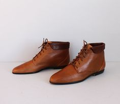 vintage light brown leather lace up ankle boots by secretlake