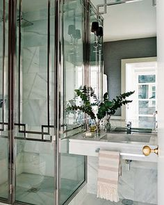 chrome pattern on shower doors, Bathroom, black and white, marble, glamorous, elegant