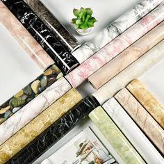 Modern Living Room Furniture Desktop Waterproof Marble Wallpaper Vinyl Self Adhesive Contact Paper Solid Color Home Decor