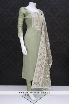 Light green soft silk straight cut suit from palkhi fashion with thread embroidery, resham, gold thread work & lakhnavi work. Designer Party Wear Dresses, Kurti Designs Party Wear, Indian Designer Outfits, Indian Designers, Best Casual Dresses, Stylish Dresses, Fashion Dresses, Pakistani Dresses, Indian Dresses