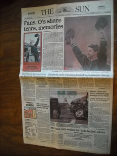 The Sun Front Section & D Monday October 7, 1991 Farewell to Memorial Stadium - For sale at Wenzel Thrifty Nickel ecrater store
