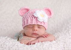 0 to 3 Months Baby Girl Chunky Monkey Flapper Hat, Baby Pink with White and Yellow Flower. Professional Photo Props. Baby Shower Gift.. $20.00, via Etsy.
