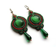 SALE green red soutache earrings handmade embroidery colors gift for her under 50 spring earrings summer jewelry boho mexican jewelry frida