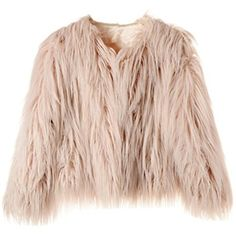 Dikoaina Women's Solid Color Shaggy Faux Fur Coat Jacket (€24) ❤ liked on Polyvore featuring outerwear