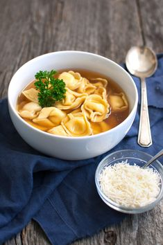 Slow-Cooker Beef Broth with Tortellini or Pasta (Pasta in Brodo) - A comforting soup of tortellini served in an incredibly rich and flavorful broth. A long simmer in a slow cooker makes the broth amazing! | tamingofthespoon.com