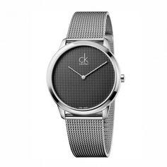 K3M2112X Ανδρικό - γυναικείο ελβετικό ρολόι CALVIN KLEIN Minimal με  μπρασελέ ψάθα και γκρι καντράν  35c342783d0