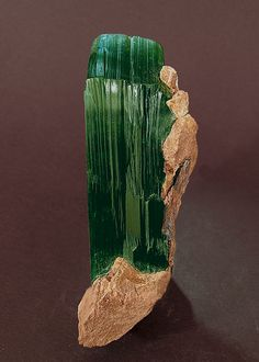 "Vivianite,(Fe2+. Fe2+ 2(PO 4) 2·8H 2O) is a hydrated iron phosphate mineral  Mina Colavi, Machacamarca, Cornelio Saavedra, Potosí  Bolivia (07-08 / 2003) Specimen size: 9.5 × 3.9 × 3.2 cm = 3.7"" × 1.5"" × 1.3"" Main crystal size: 7.4 × 2.4 cm = 2.9"" × 0.9"""