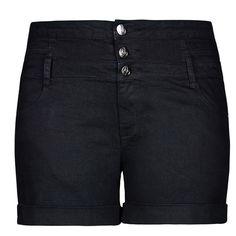 City Chic Hi Waist Short Short - Black ($40) ❤ liked on Polyvore featuring shorts, bottoms, pants, short shorts, zipper shorts and summer shorts
