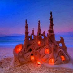 Sand Castle Sunset Art