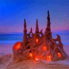 Sand Castle Sunset Art