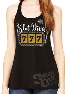 Casino. Slot machine tees. gambling tees. Casino bling shirt. Slot Diva.Fun gambling shirt by ShoutitOutApparel on Etsy