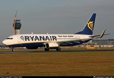 Ryanair (IE) Boeing 737-8AS(WL) EI-DLN aircraft, with the sticker ''Bye Bye Baby'' on the airframe, skating at England Manchester International Airport. 10/11/2012.