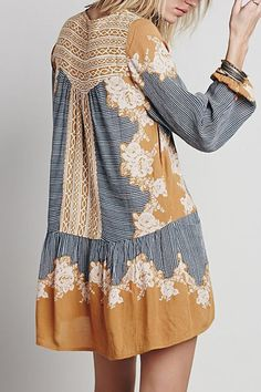 Floral Print Spliced Pocket Loose-Fitting Dress
