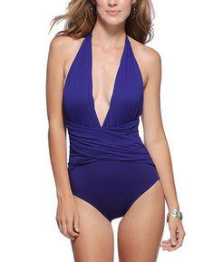 La Blanca 'Island Goddess' Wrap Halter One Piece Swimsuit