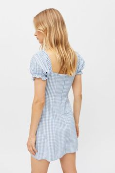 Picnic Dress, Gingham Dress, Puff Sleeves, Urban Outfitters, Kiss, Neckline, Silhouette, Sky, Content